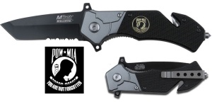 POW MIA Medallion, Pocket Rescue Knife.