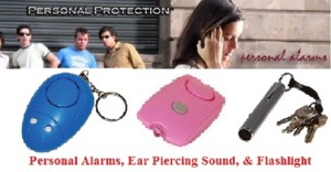 Personal Alarms, Ear Piercing Sounds, with a Flashlight!